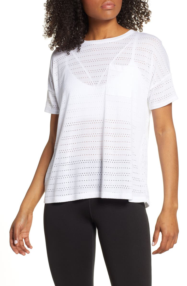BEYOND YOGA Off Cuff Pocket Tee, Main, color, WHITE