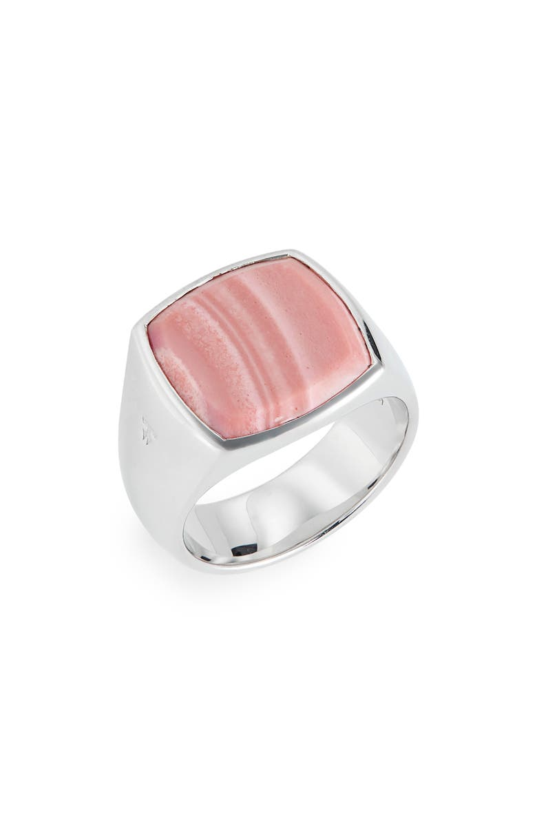TOM WOOD Pink Opal Cushion Signet Ring, Main, color, 925 STERLING SILVER