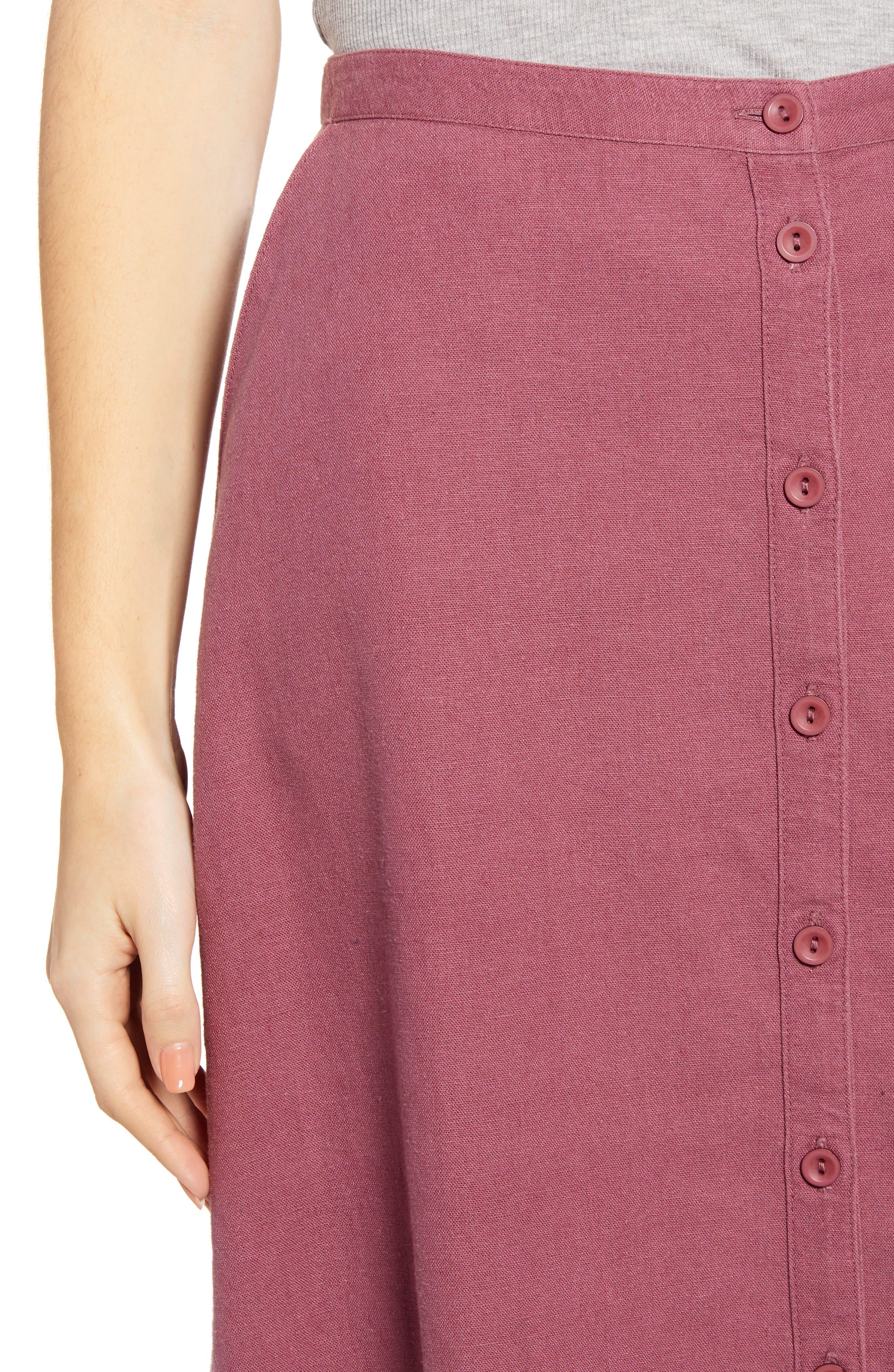 ,                             Button Front Linen Blend Midi Skirt,                             Alternate thumbnail 4, color,                             BURGUNDY CRUSH