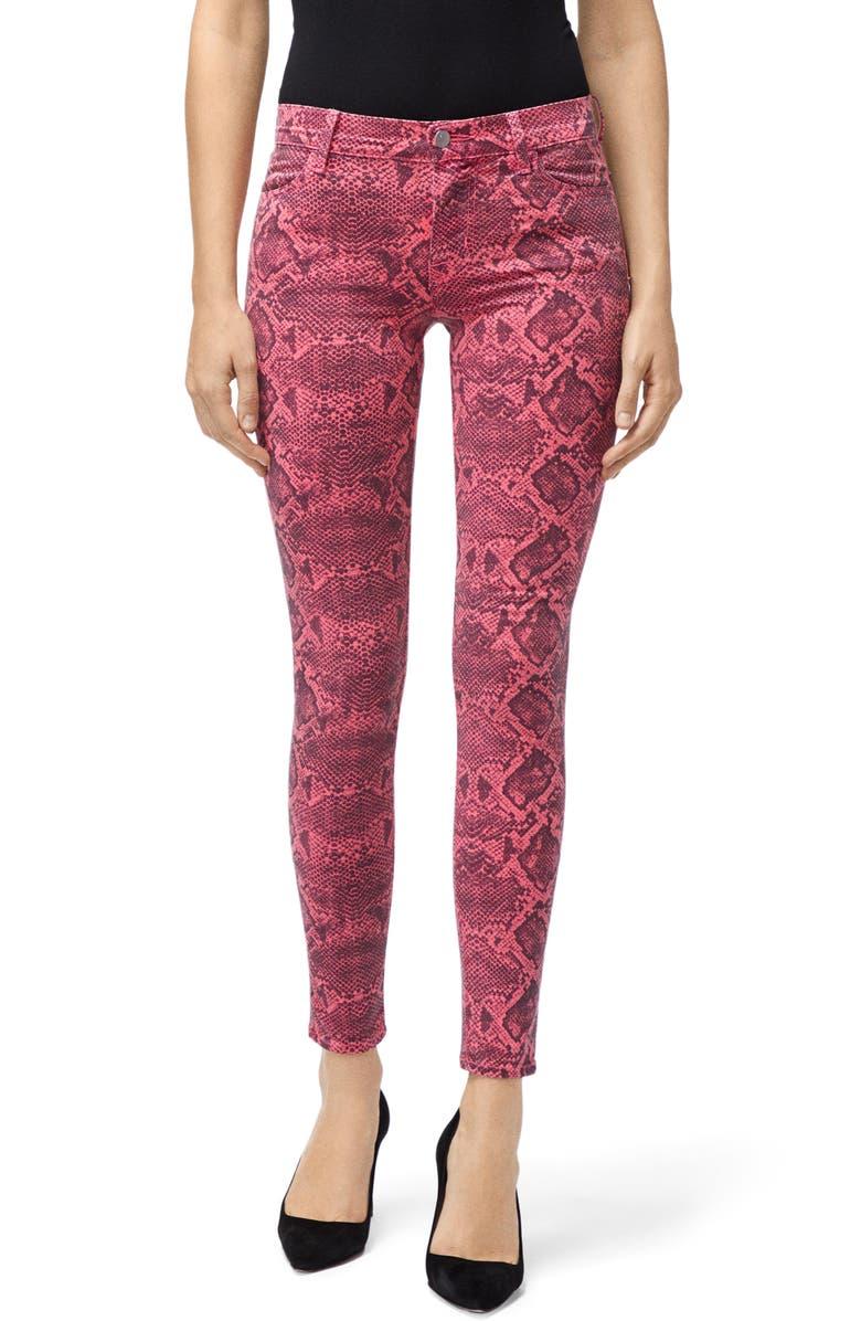 Neon Pink Boa Print Skinny Jeans by J Brand