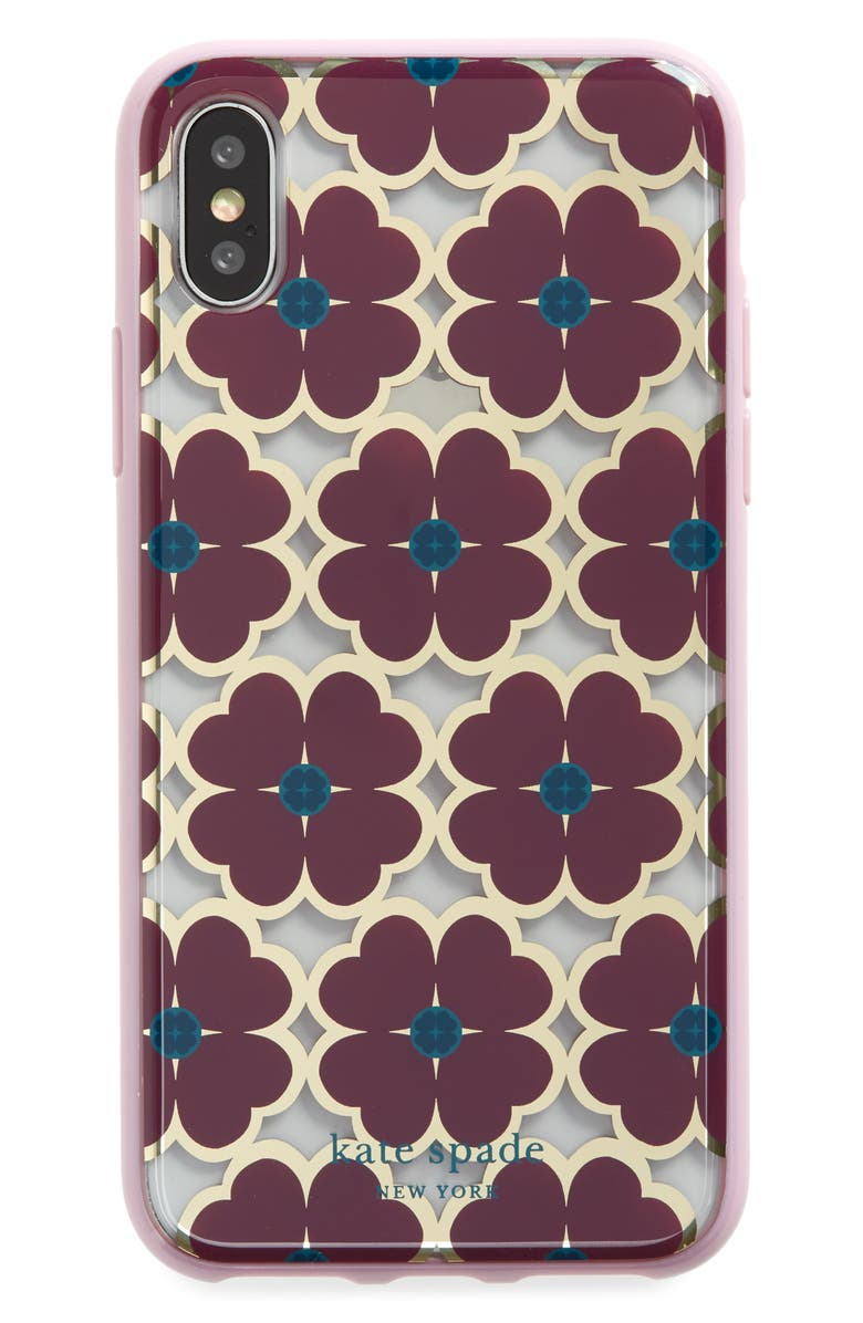 KATE SPADE NEW YORK graphic clover iPhone X/Xs, Xs Max & XR case, Main, color, MULTI
