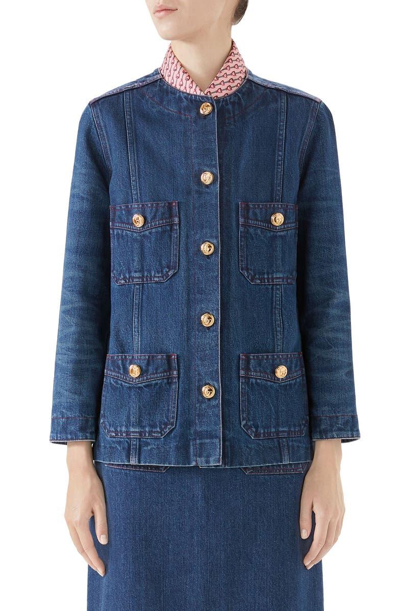 GUCCI Washed Denim Jacket, Main, color, DARK BLUE