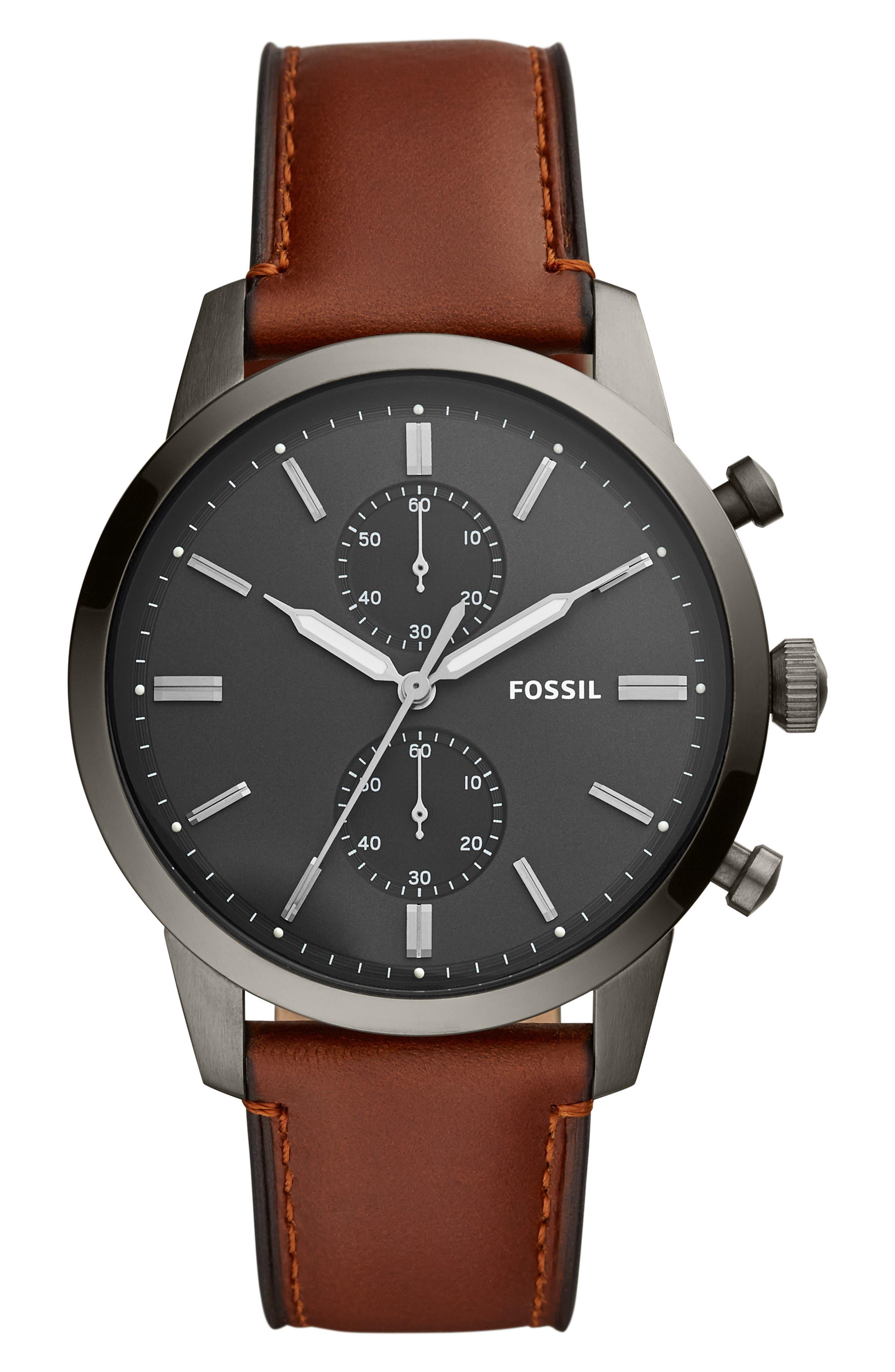 Townsman Chronograph Leather Strap Watch