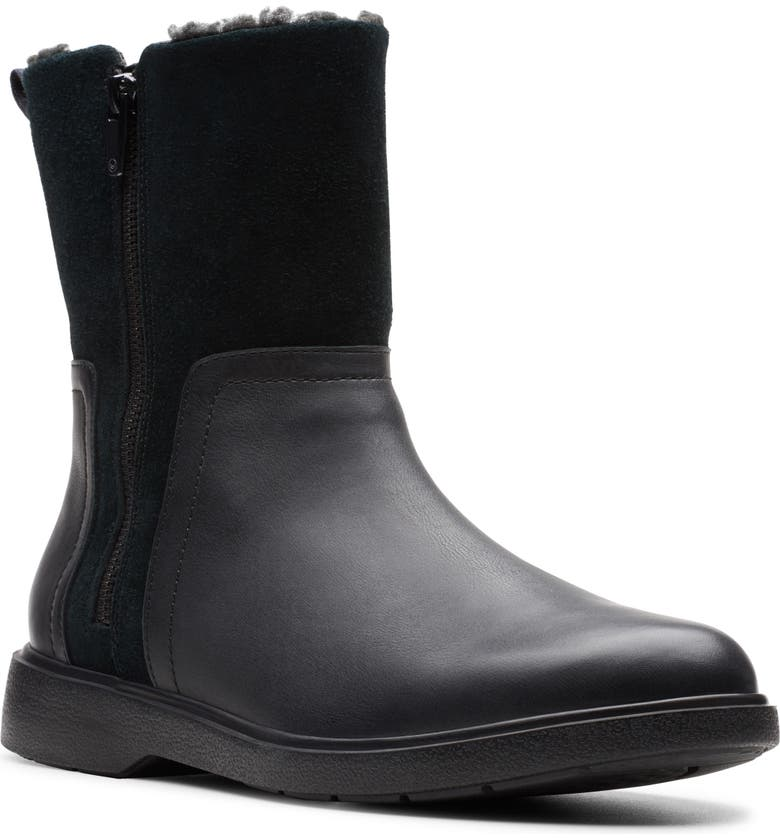 CLARKS<SUP>®</SUP> Unstructured Elda Faux Fur Lined Waterproof Mid Boot, Main, color, BLACK LEATHER