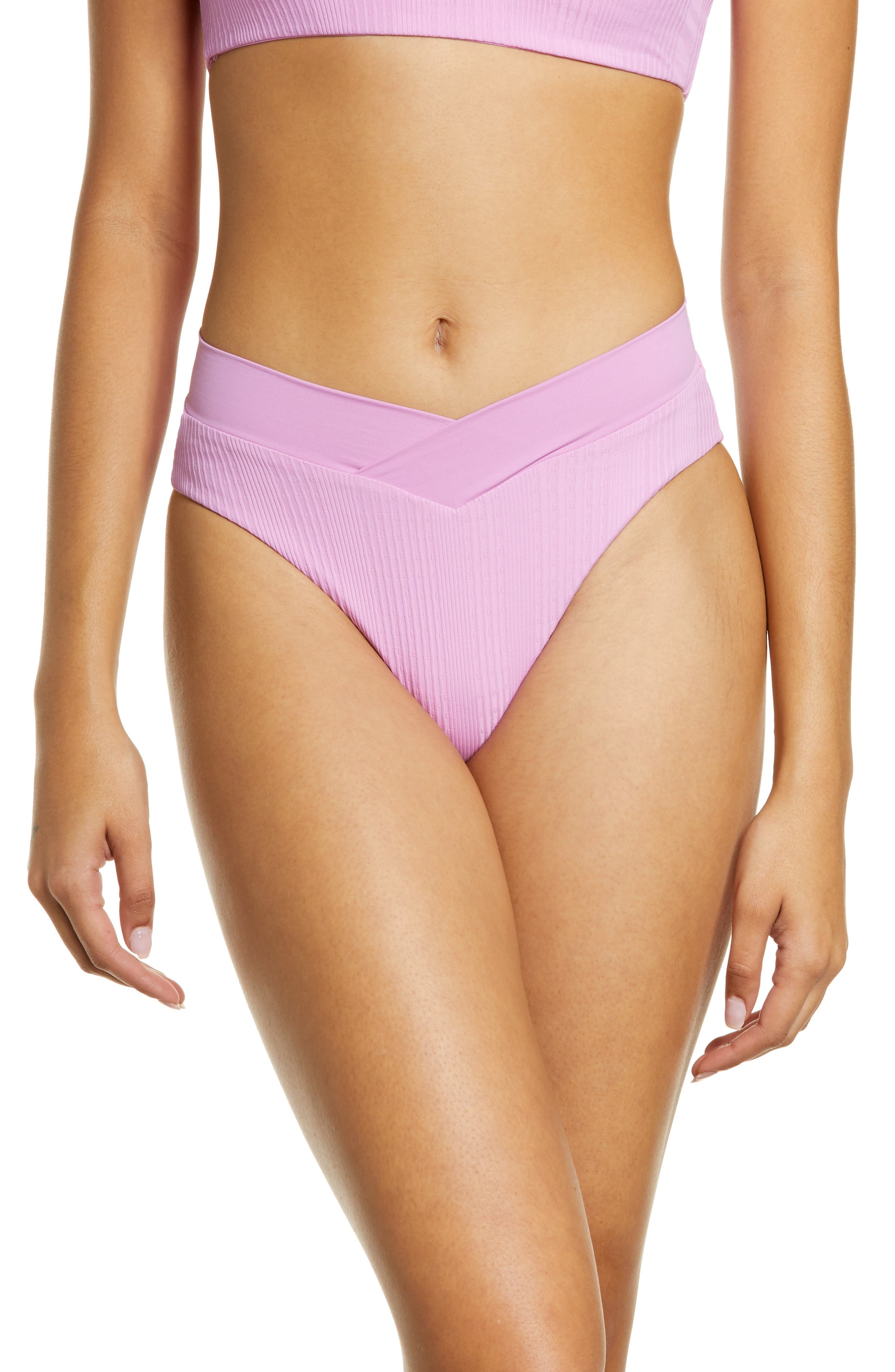 Women's L Space Court Bitsy Ribbed Bikini Bottoms