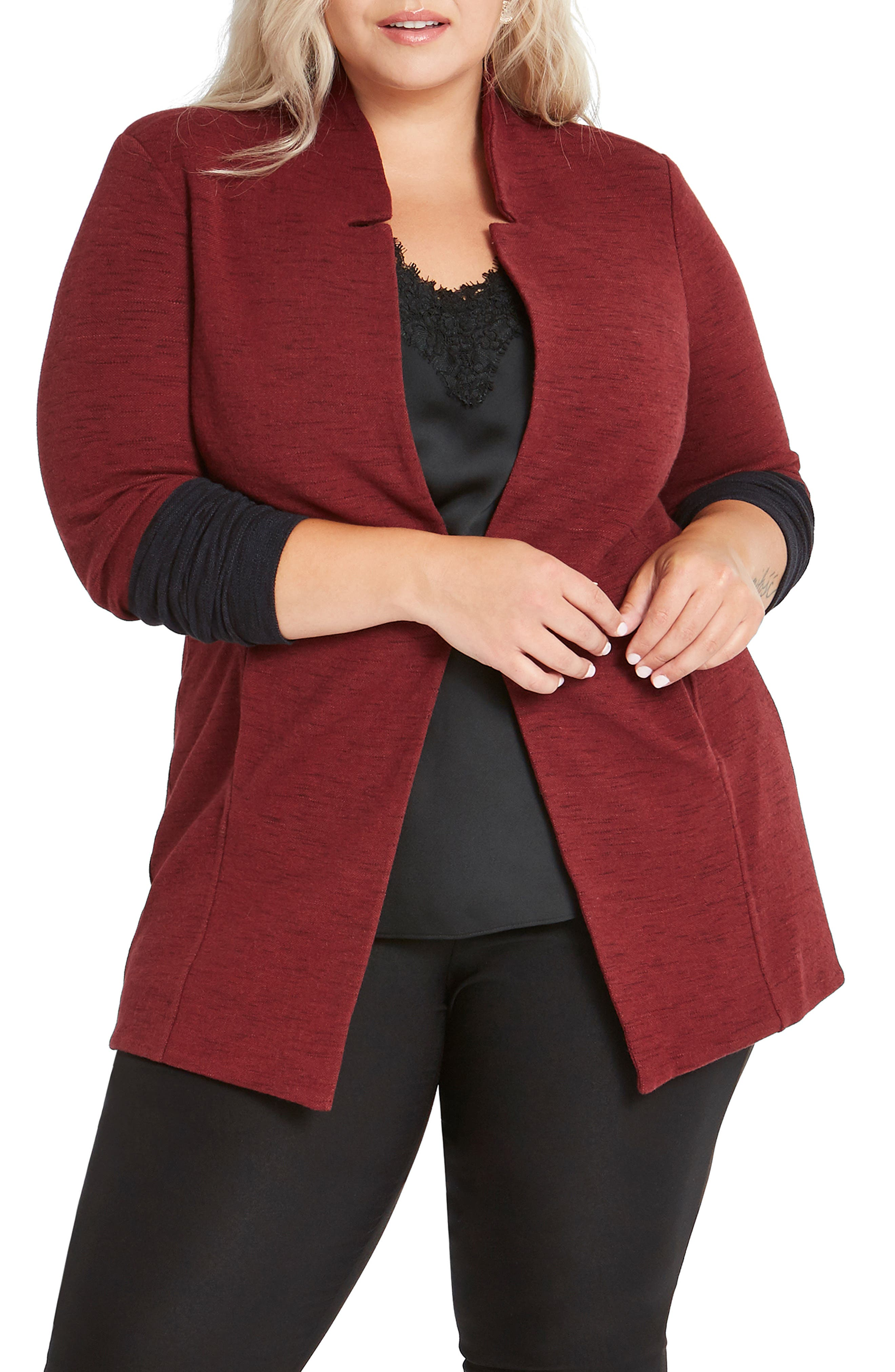 NIC+ZOE Colorblock Me Knit Jacket (Plus Size)   Nordstrom