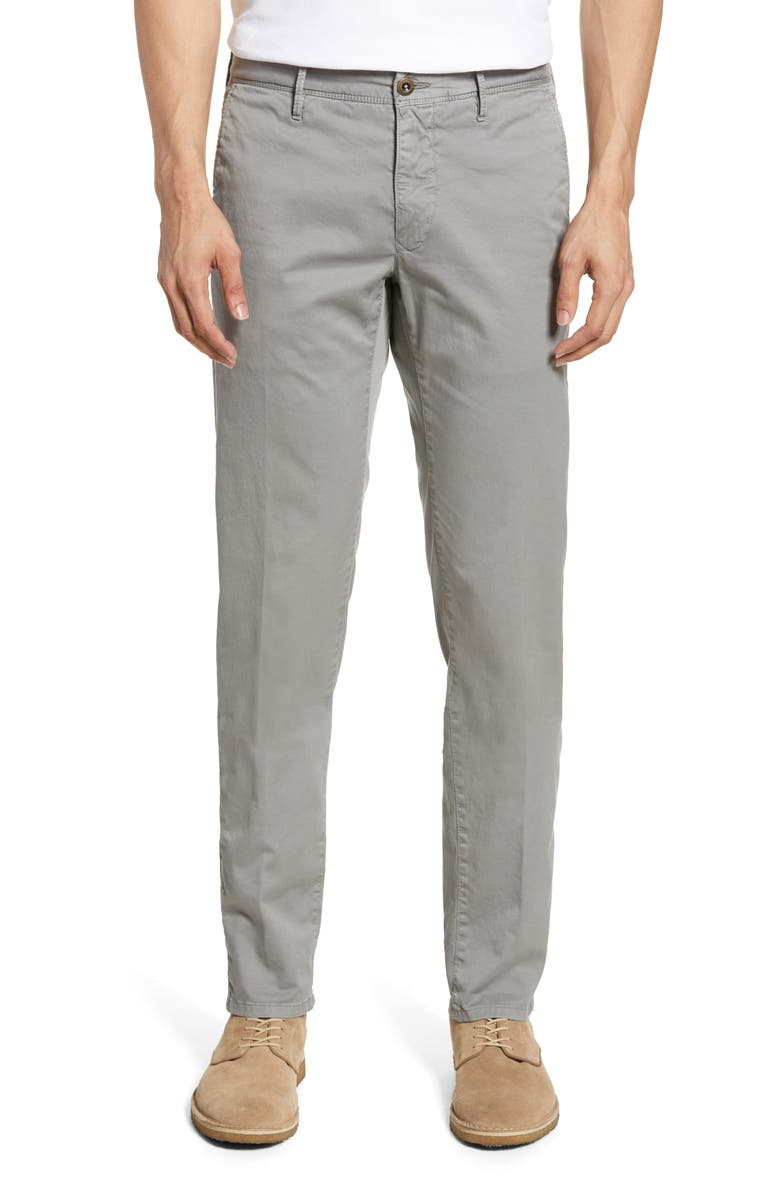 INCOTEX Flat Front Solid Stretch Cotton Chino Trousers, Main, color, 055