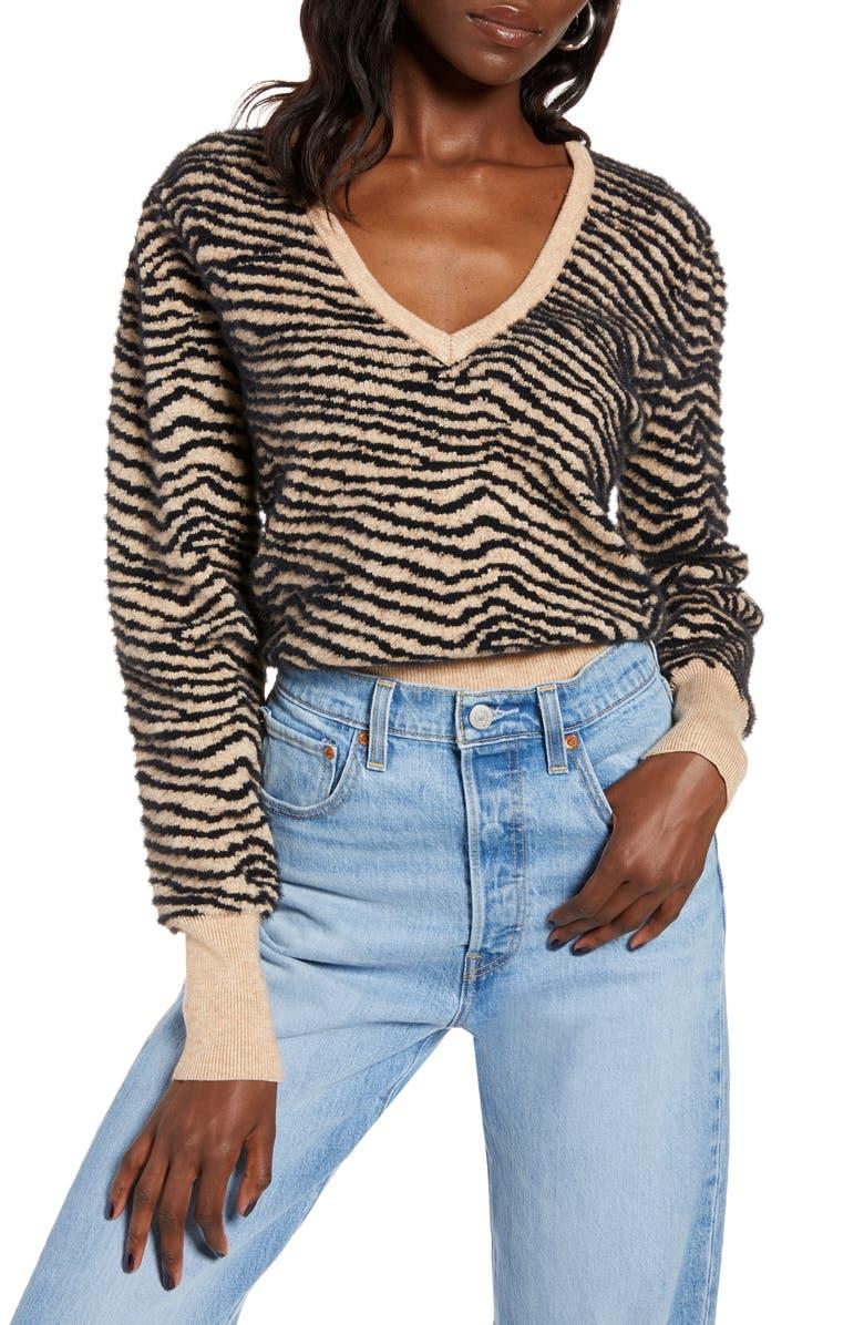 ASTR THE LABEL Tiger Stripe V-Neck Sweater, Main, color, 266
