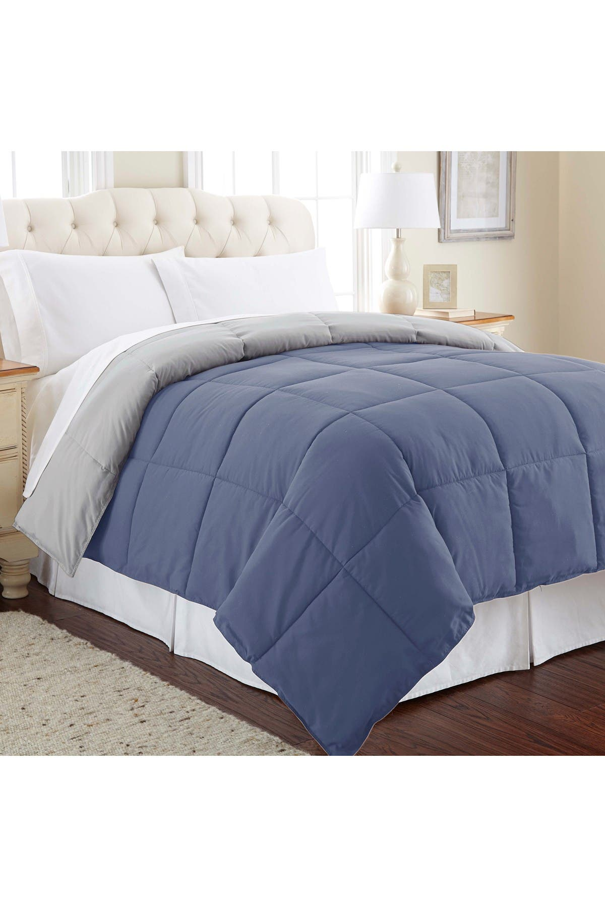Image of Modern Threads Queen Down Alternative Reversible Comforter - Infinity Blue/Silver