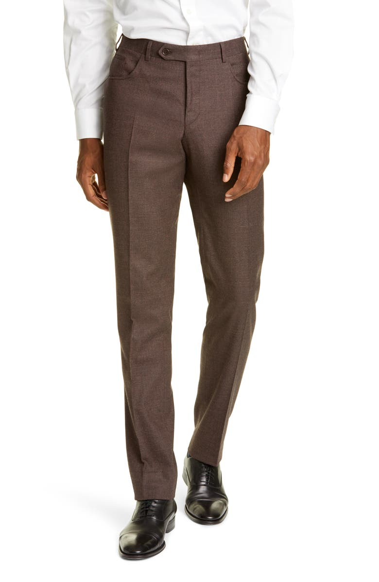 CANALI Flat Front Solid Stretch Wool & Cotton Trousers, Main, color, BROWN