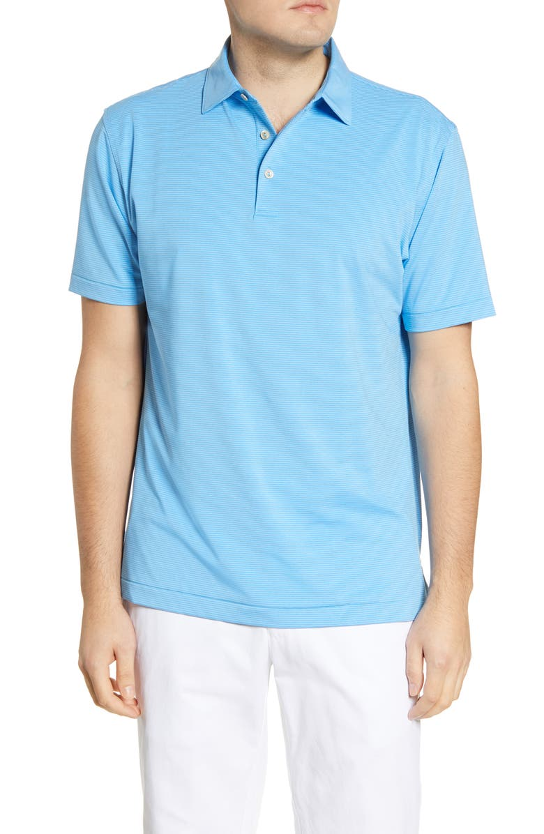 PETER MILLAR Halford Stripe Performance Polo, Main, color, RIVERBED