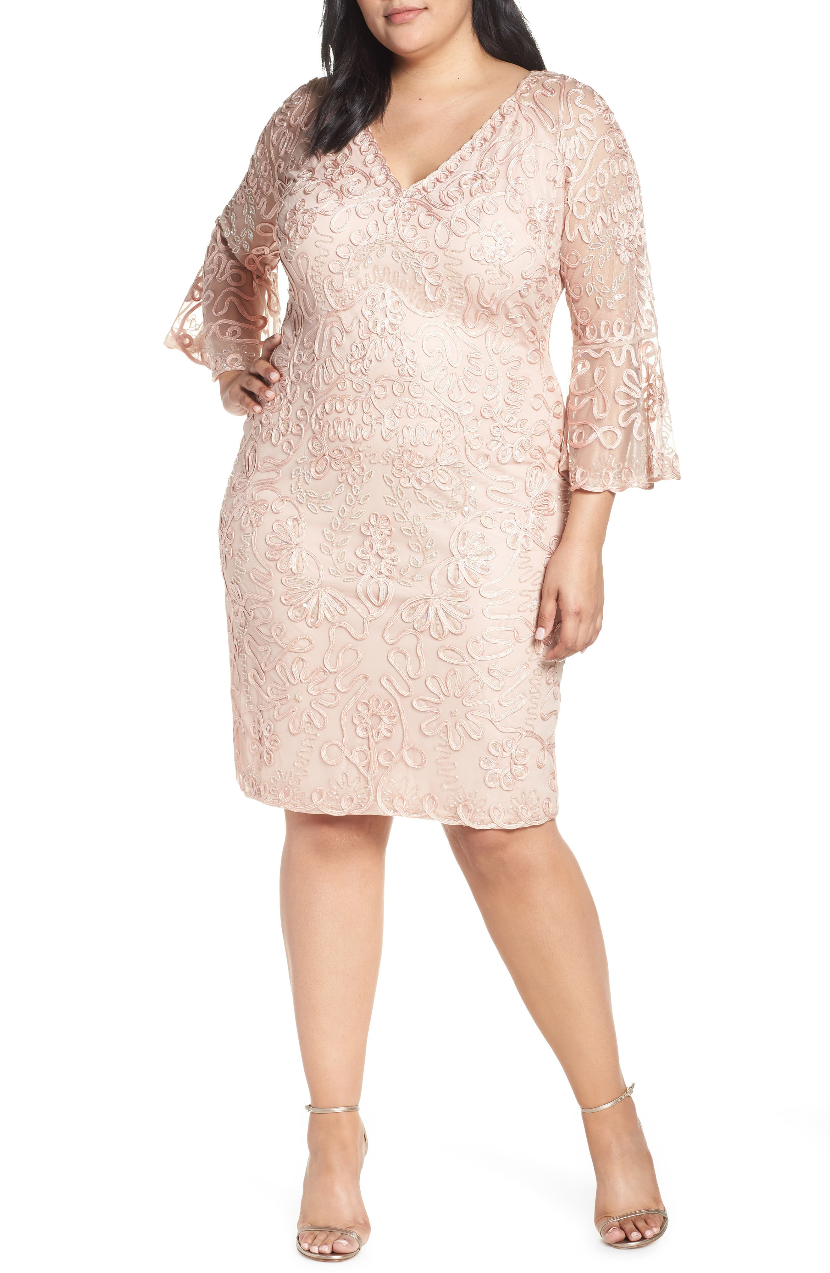 Bell Sleeve Mesh Shift Dress, Main, color, PINK TAUPE