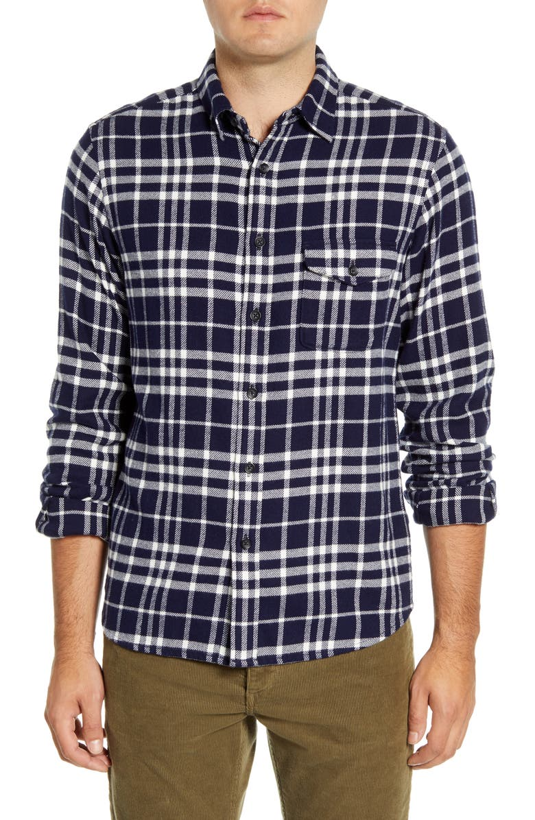 ALEX MILL Slim Fit Plaid Flannel Button-Up Shirt, Main, color, NAVY/ WHITE