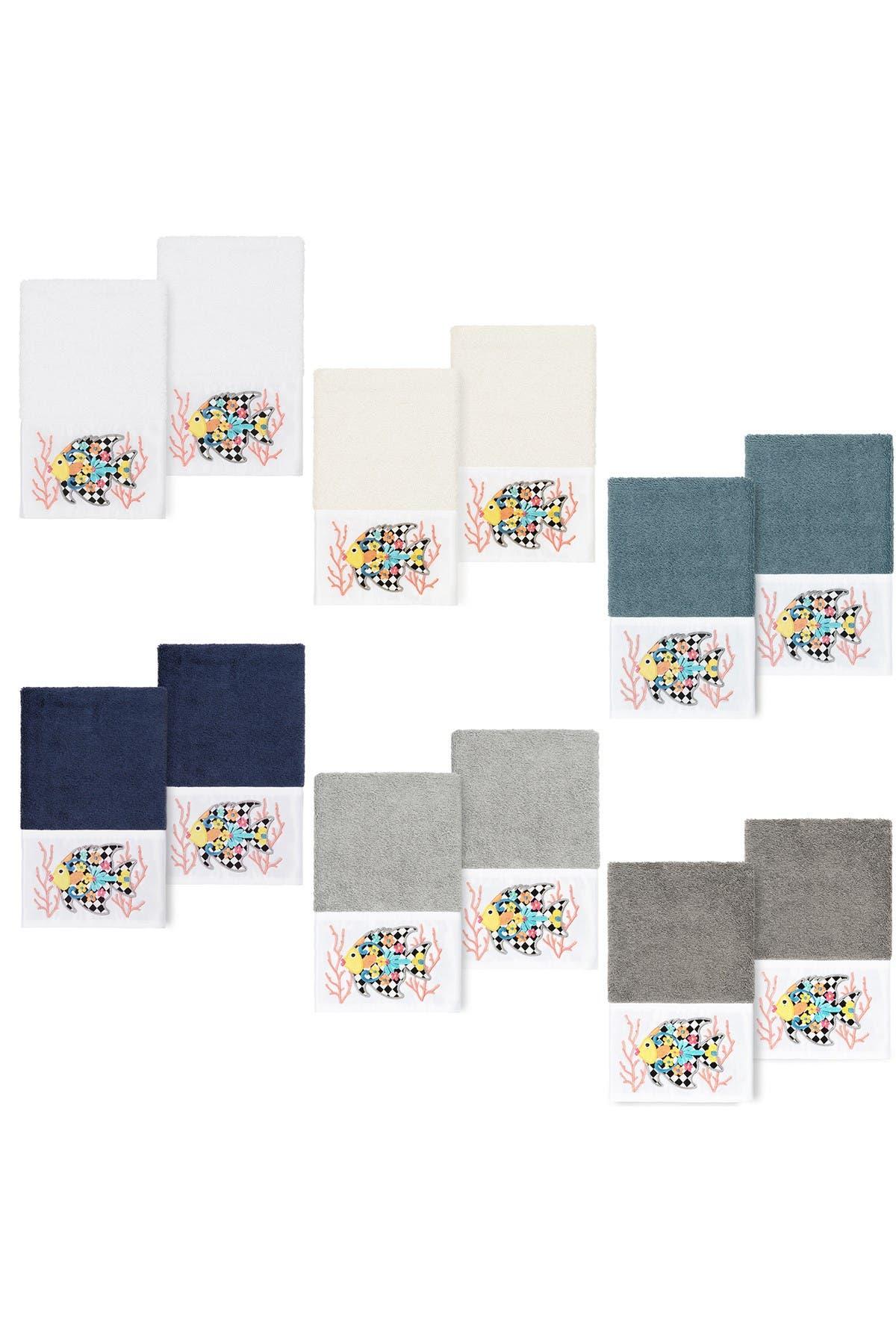 Image of LINUM HOME Feliz Embellished Hand Towel - Set of 2 - White