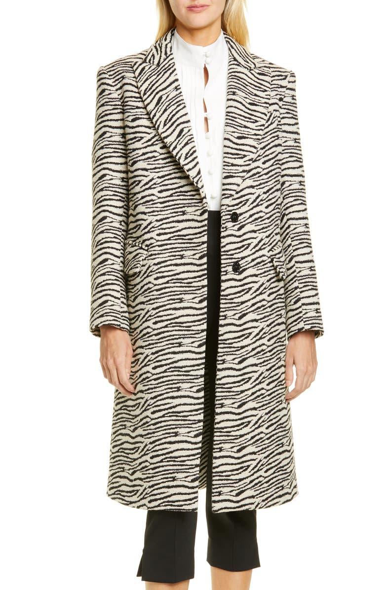 SMYTHE Zebra Stripe Overcoat, Main, color, ZEBRA