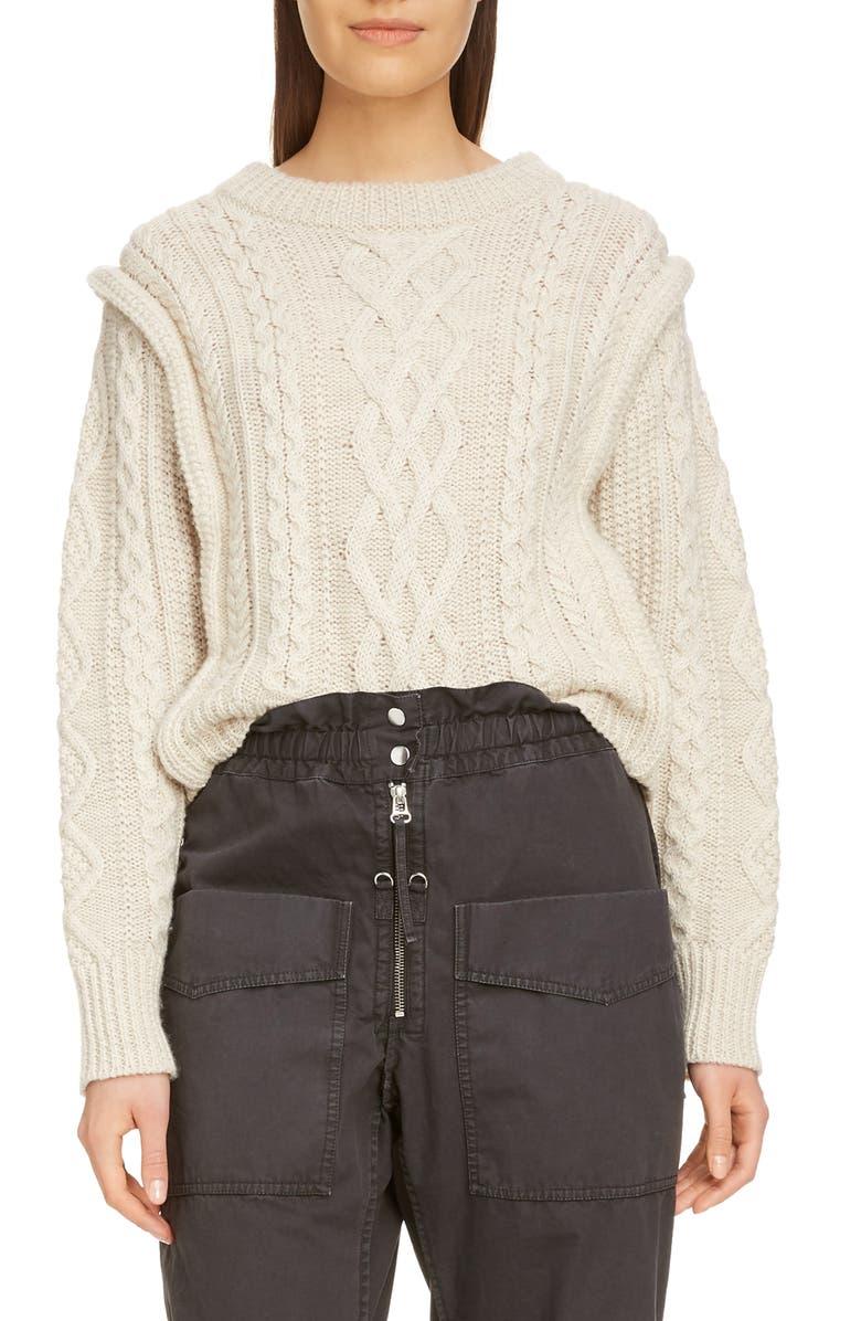 ISABEL MARANT ÉTOILE Tayle Cable Knit Sweater, Main, color, ECRU