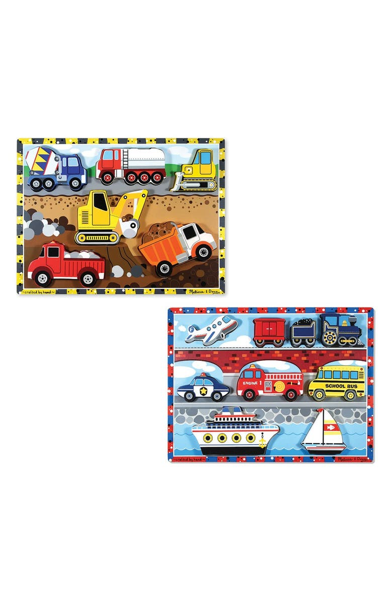 MELISSA & DOUG Vehicle and Construction Puzzles, Main, color, BROWN
