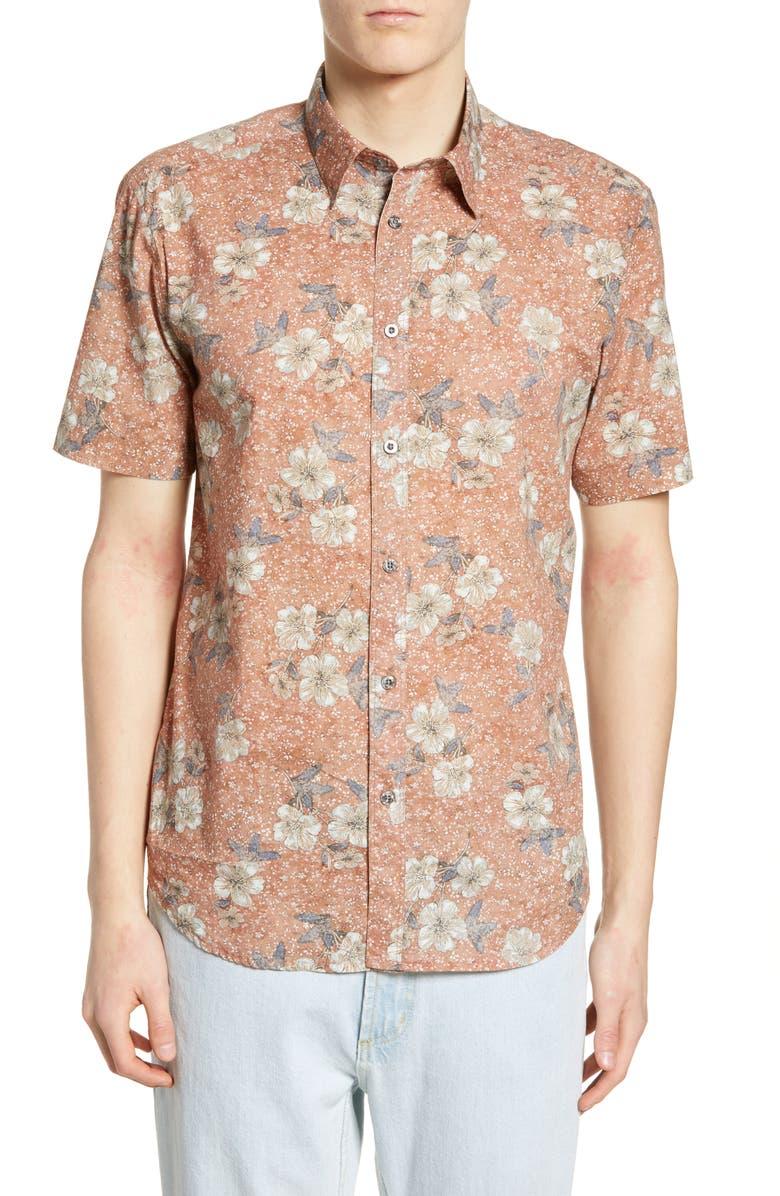 COASTAORO Mangosso Regular Fit Floral Print Shirt, Main, color, BURNT ORANGE
