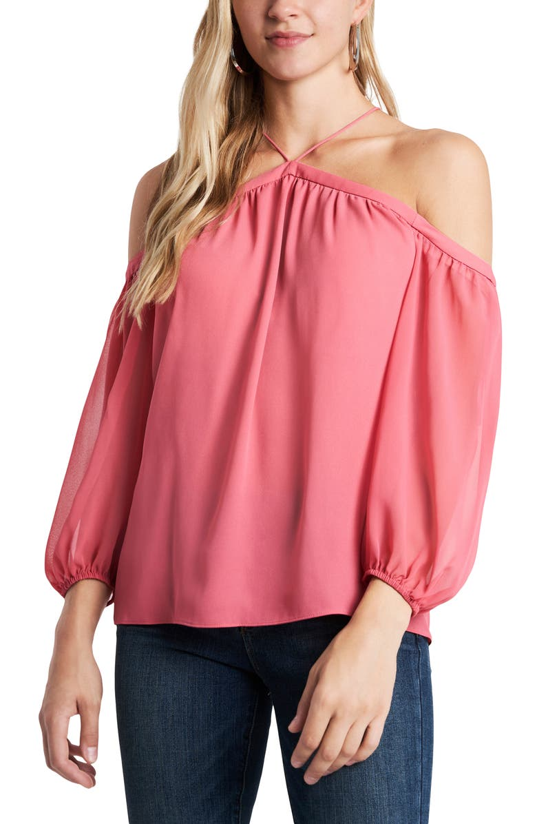 1.STATE Off the Shoulder Sheer Chiffon Blouse, Main, color, CHERRY BLOSSOM