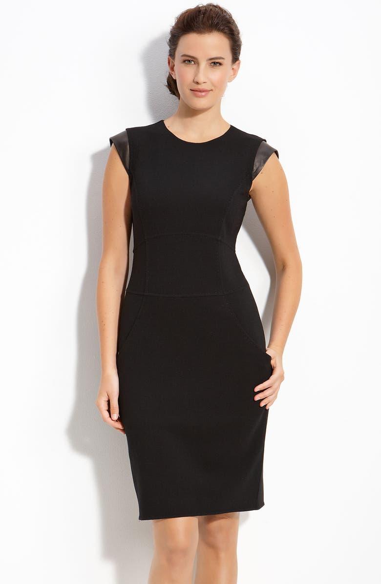 LAFAYETTE 148 NEW YORK Leather Trim Sheath Dress, Main, color, 001