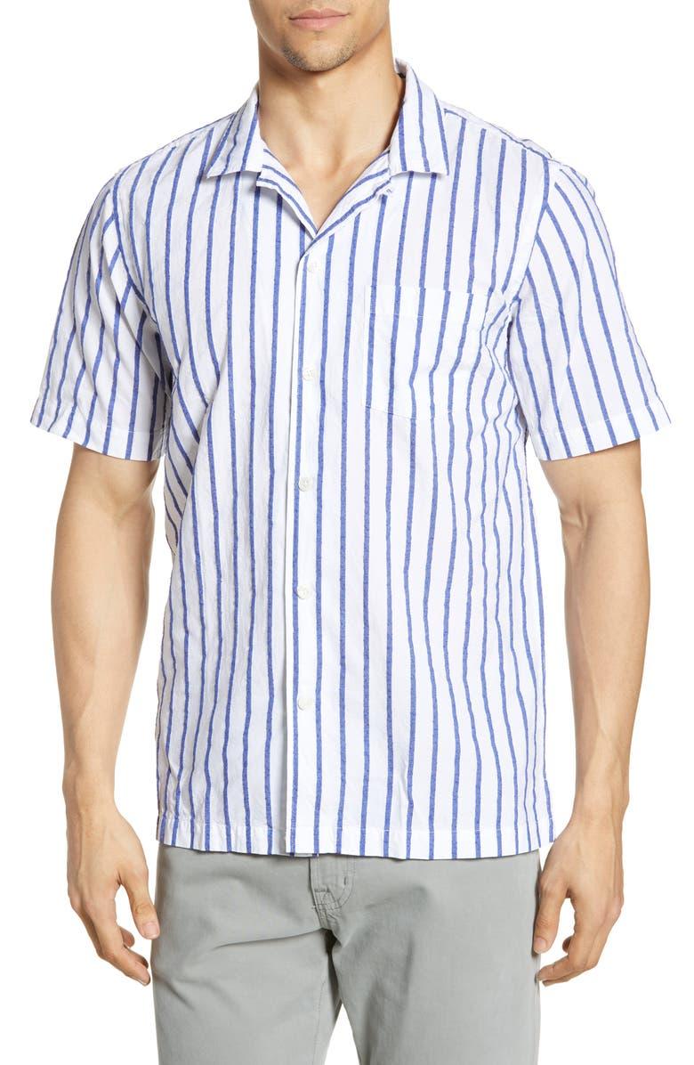 TODD SNYDER Regular Fit Boucle Stripe Shirt, Main, color, 100