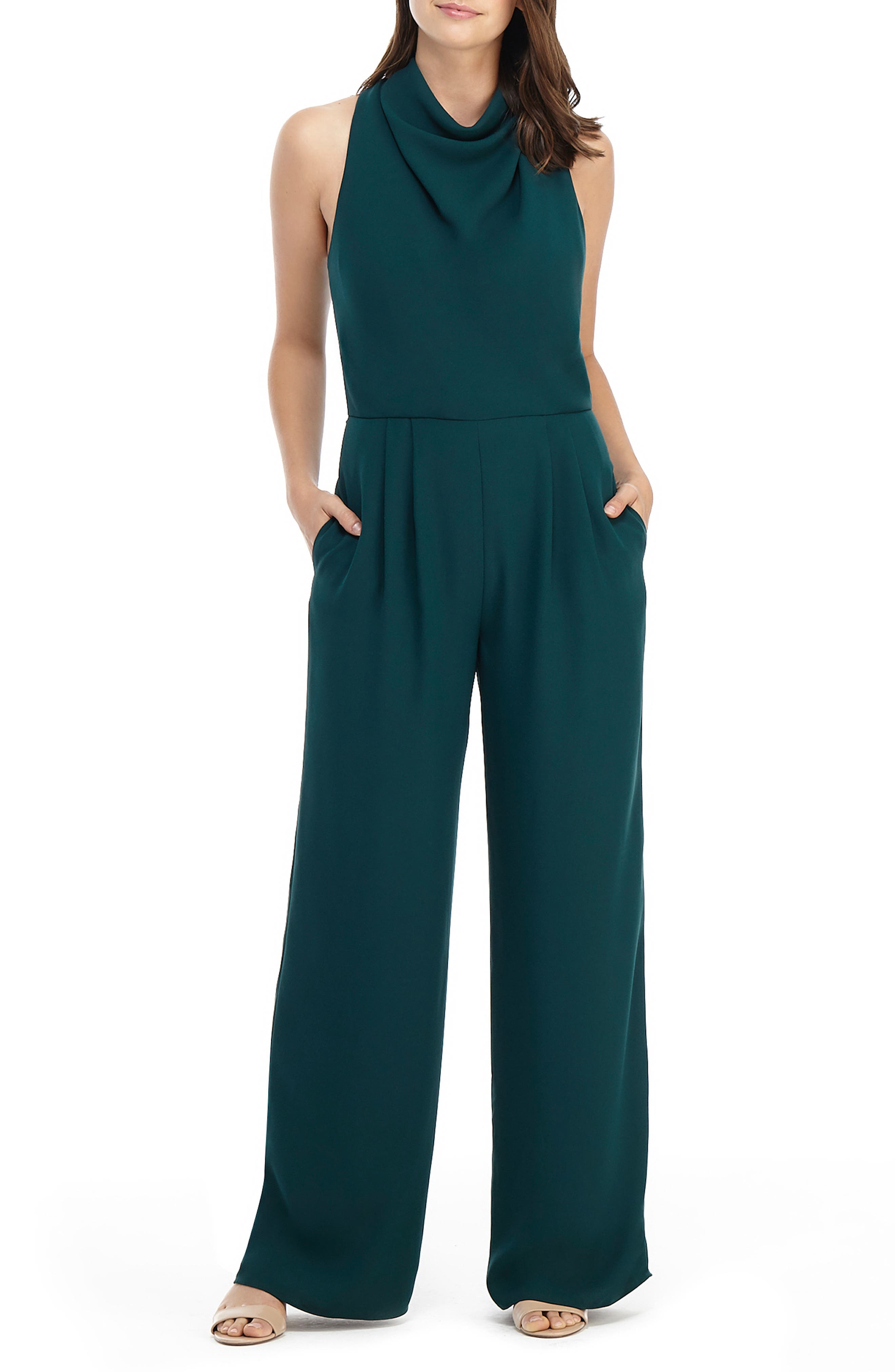 Gal Meets Glam Collection Lace Back Wide Leg Jumpsuit