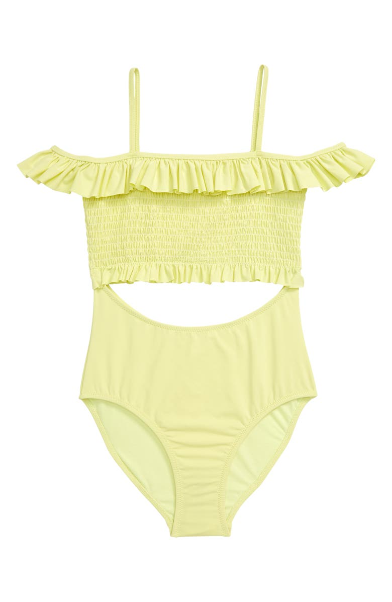 HABITUAL GIRL Habitual Smocked Cutout One-Piece Swimsuit, Main, color, YELLOW