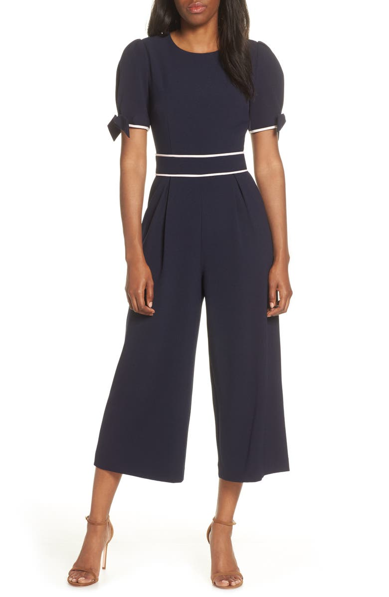 ELIZA J Crop Jumpsuit, Main, color, NAVY
