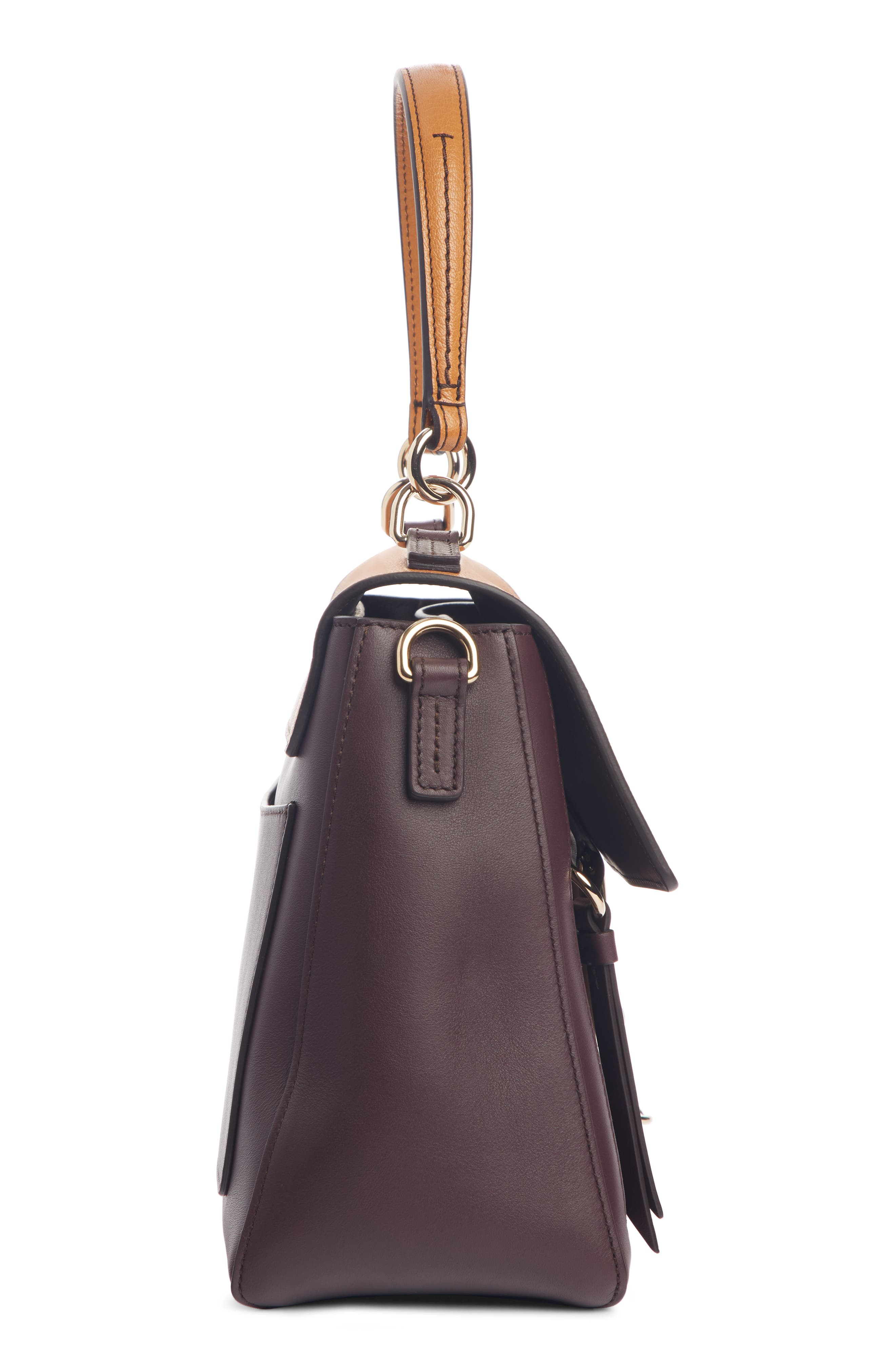 ,                             Small Faye Day Leather Shoulder Bag,                             Alternate thumbnail 4, color,                             PURPLE/ BROWN