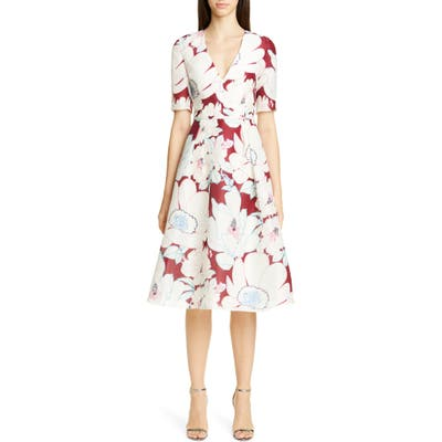 Carolina Herrera Oleander Print Silk Fit & Flare Dress, White