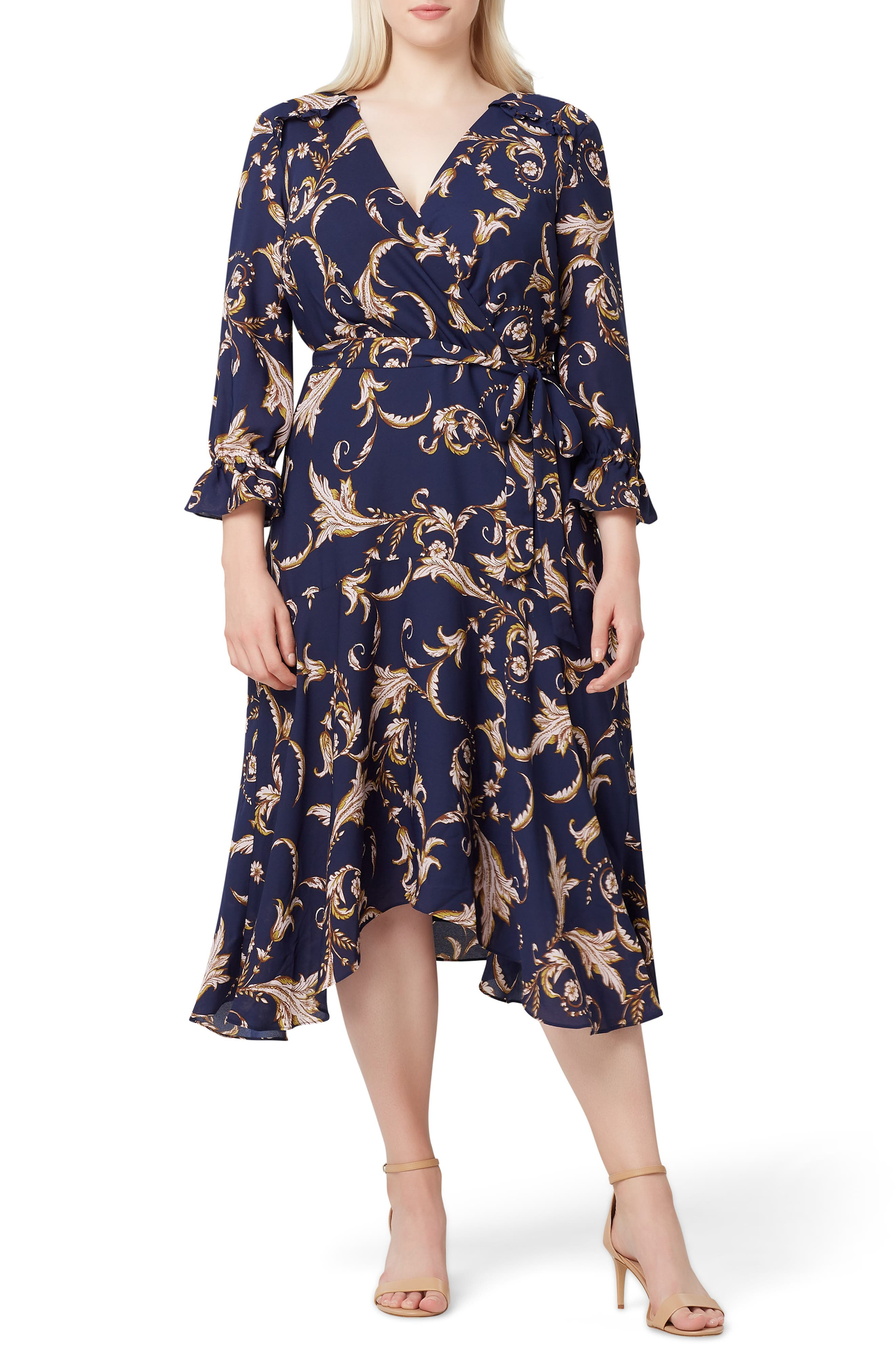 plus size women's tahari printed crepe faux wrap dress