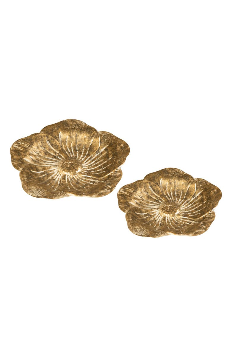 FORESIDE Sculpted Flower Set of 2 Trays, Main, color, GOLD