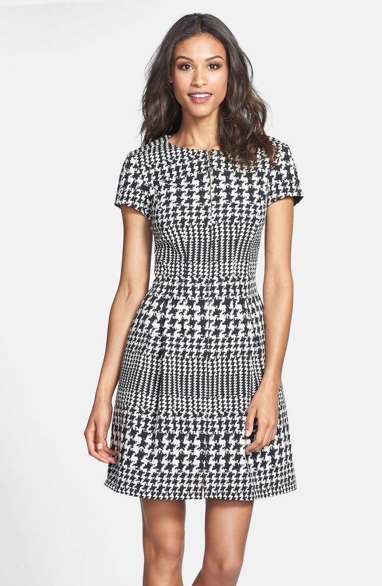 ELIZA J Front Zip Houndstooth Jacquard Fit & Flare Dress, Main, color, 001