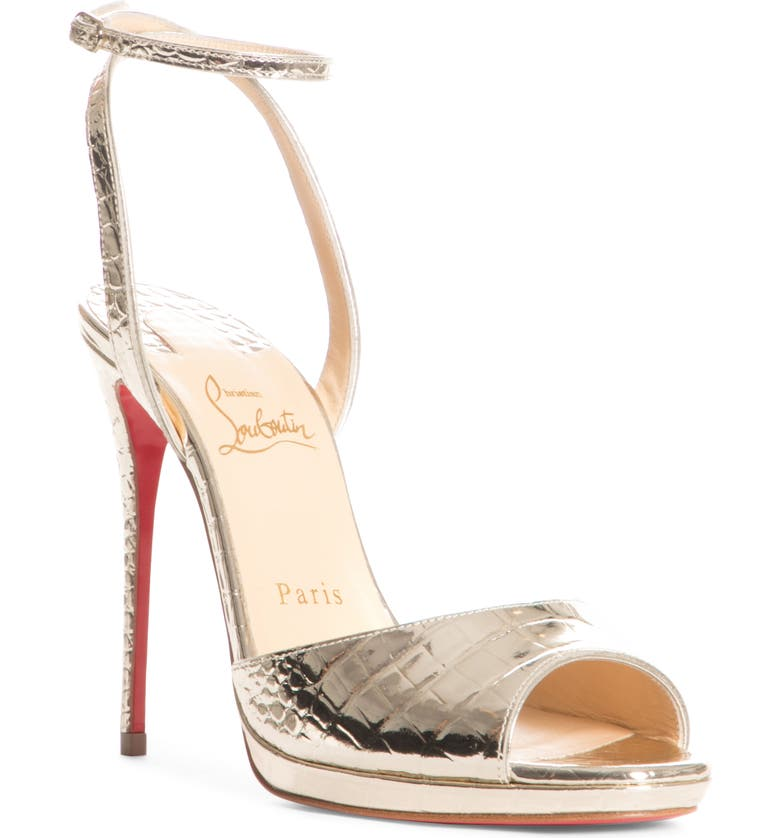 CHRISTIAN LOUBOUTIN Loubiloo Metallic Croc Embossed Ankle Strap Sandal, Main, color, PLATINE