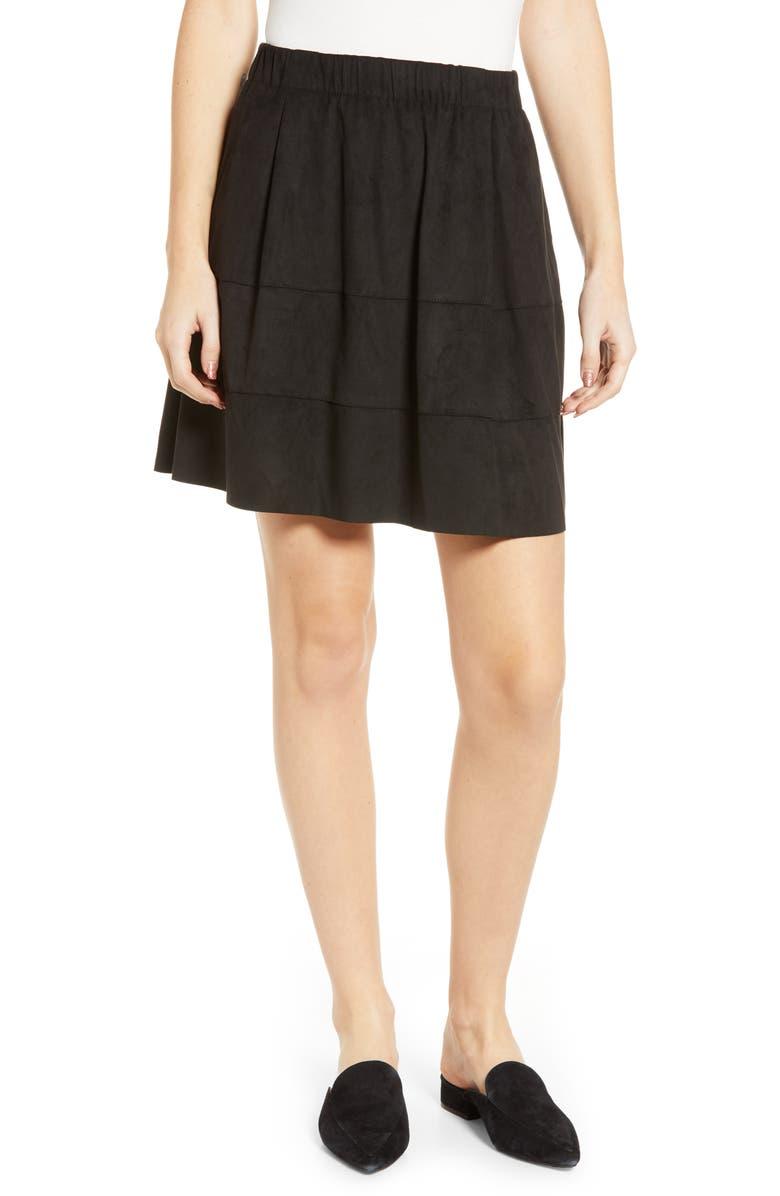 NOISY MAY Lauren Faux Suede Miniskirt, Main, color, BLACK