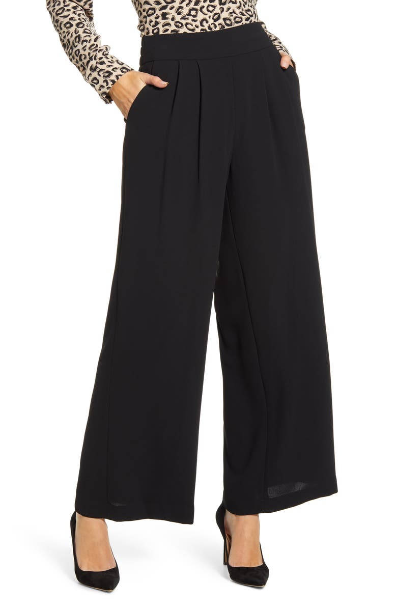 1.STATE Crepe Wide Leg Pants, Main, color, RICH BLACK