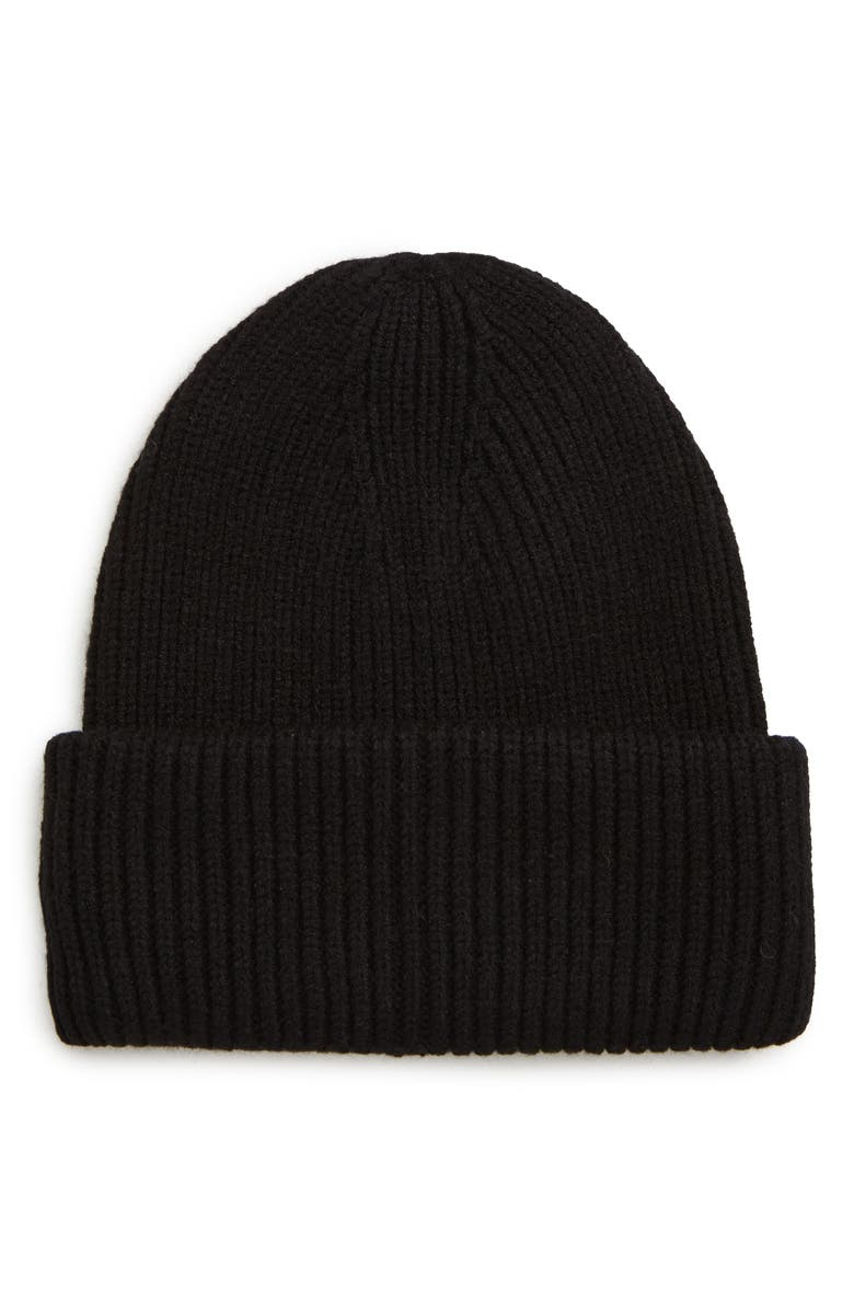 SOLE SOCIETY Classic Knit Beanie, Main, color, BLACK