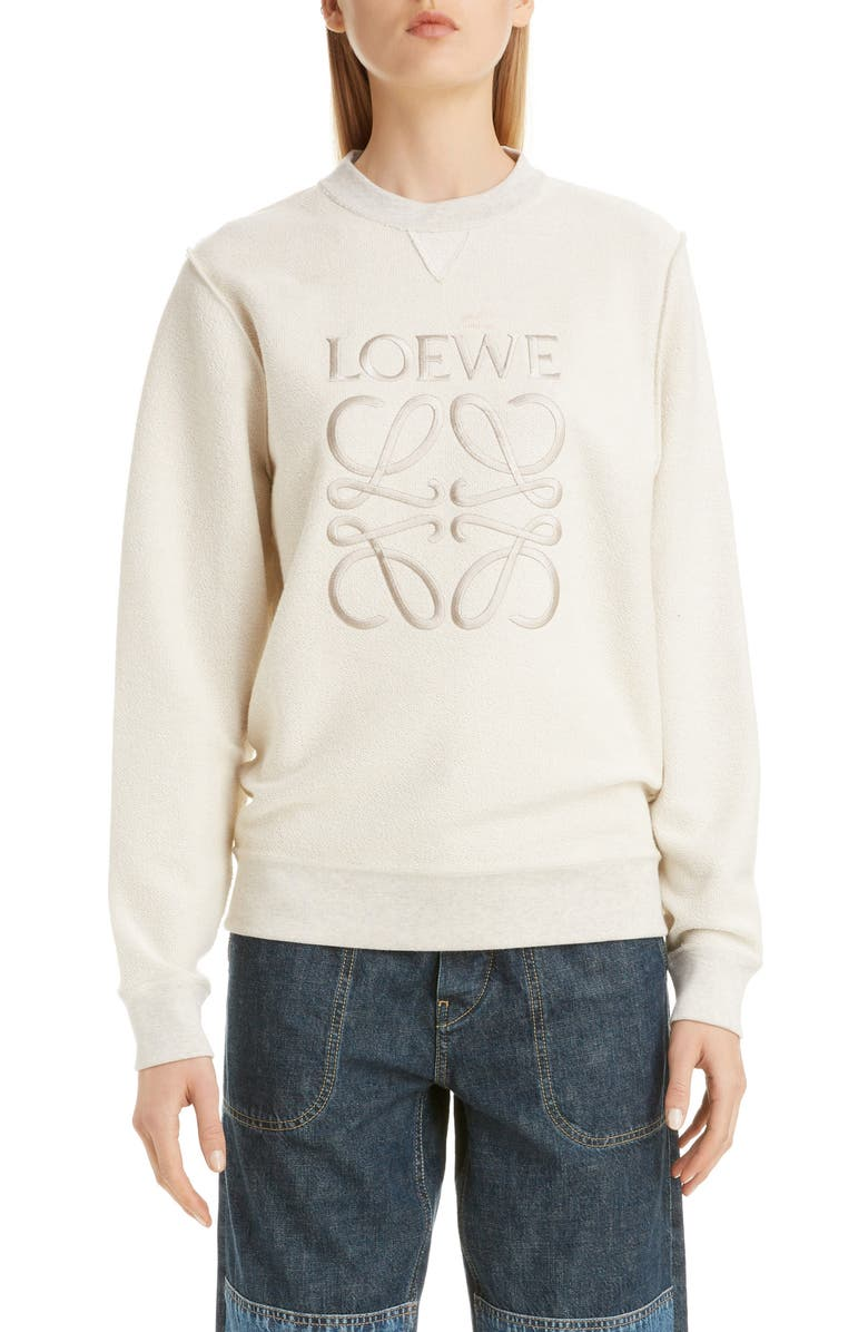 LOEWE Logo Embroidered Inside Out Sweatshirt, Main, color, ECRU/ BLACK