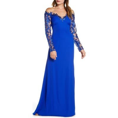 Tadashi Shoji Long Sleeve Sequin Lace Gown, Blue