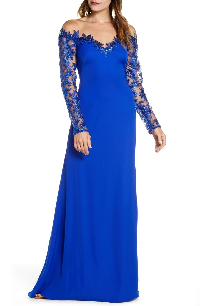 TADASHI SHOJI Long Sleeve Sequin Lace Gown, Main, color, ROYAL BLUE