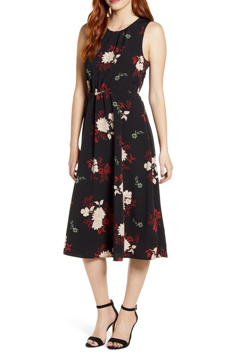 BOBEAU Francis Tie Back Midi Dress, Main, color, DAHLIA BLACK