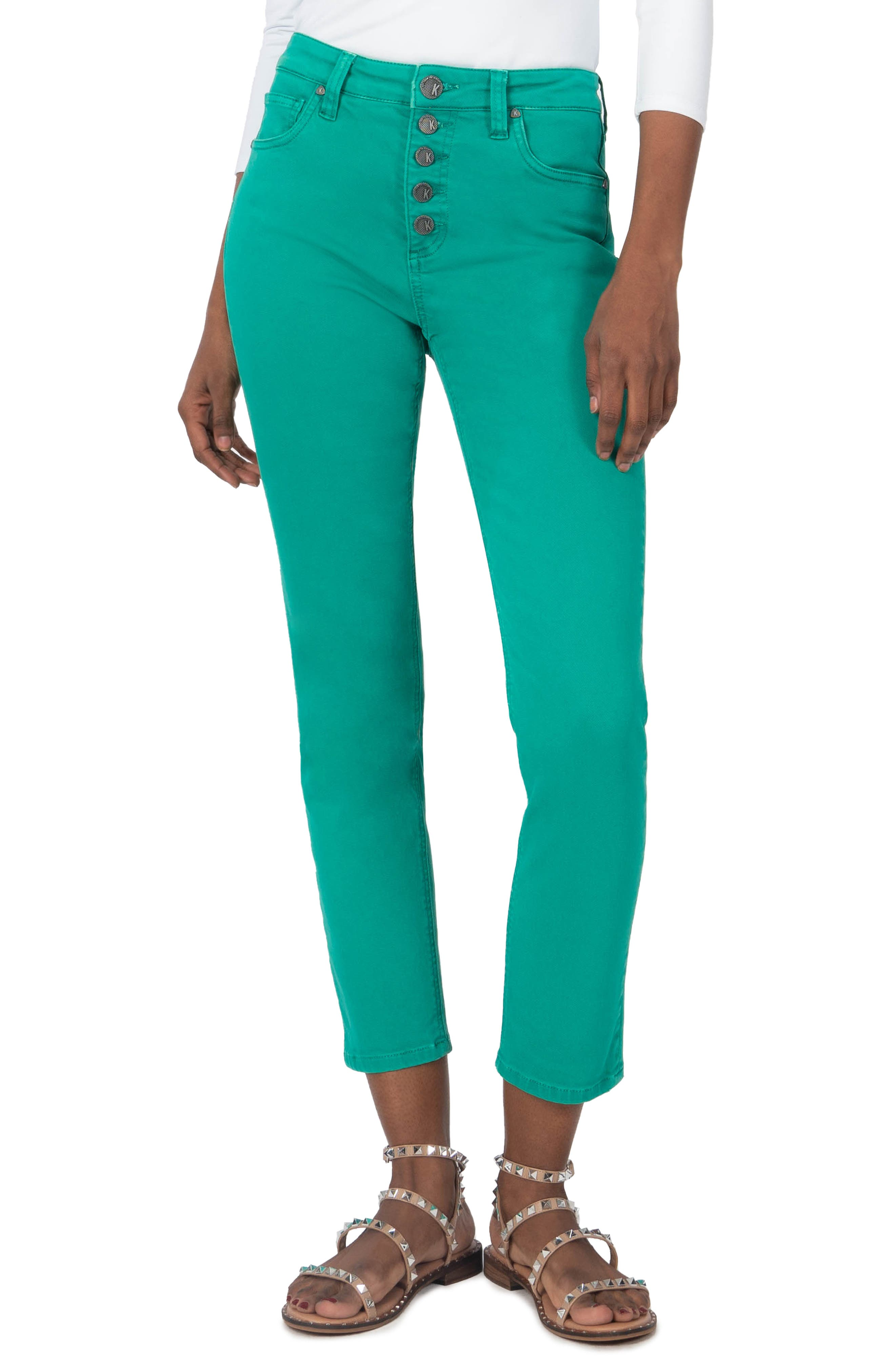 Reese Exposed Button High Waist Ankle Straight Leg Jeans