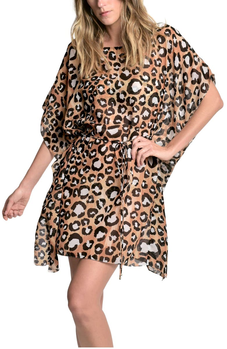 LENNY NIEMEYER Leopard Print Cover-Up Caftan, Main, color, 001