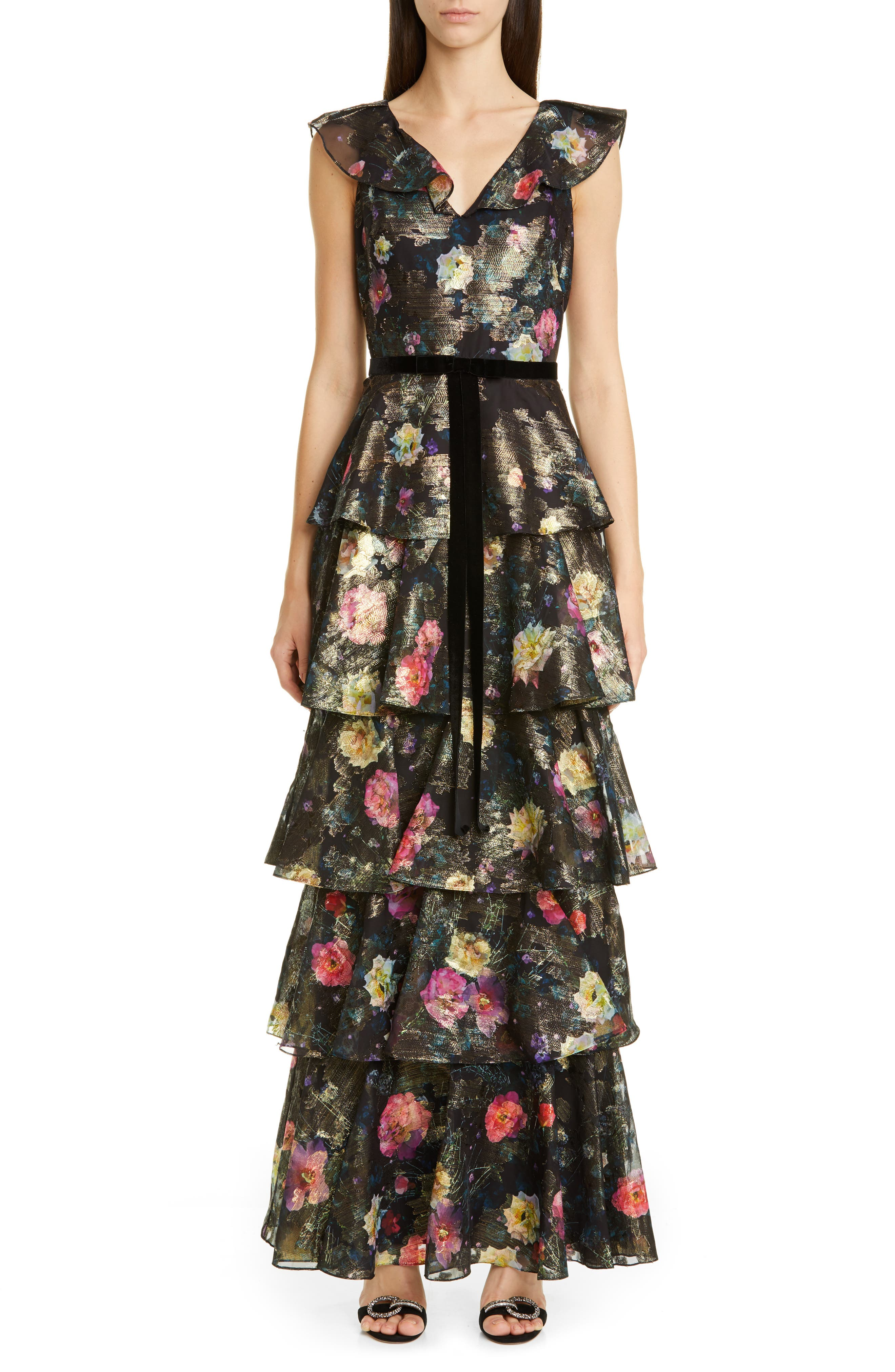 Marchesa Notte Metallic Floral Ruffle Tiered Gown, Black