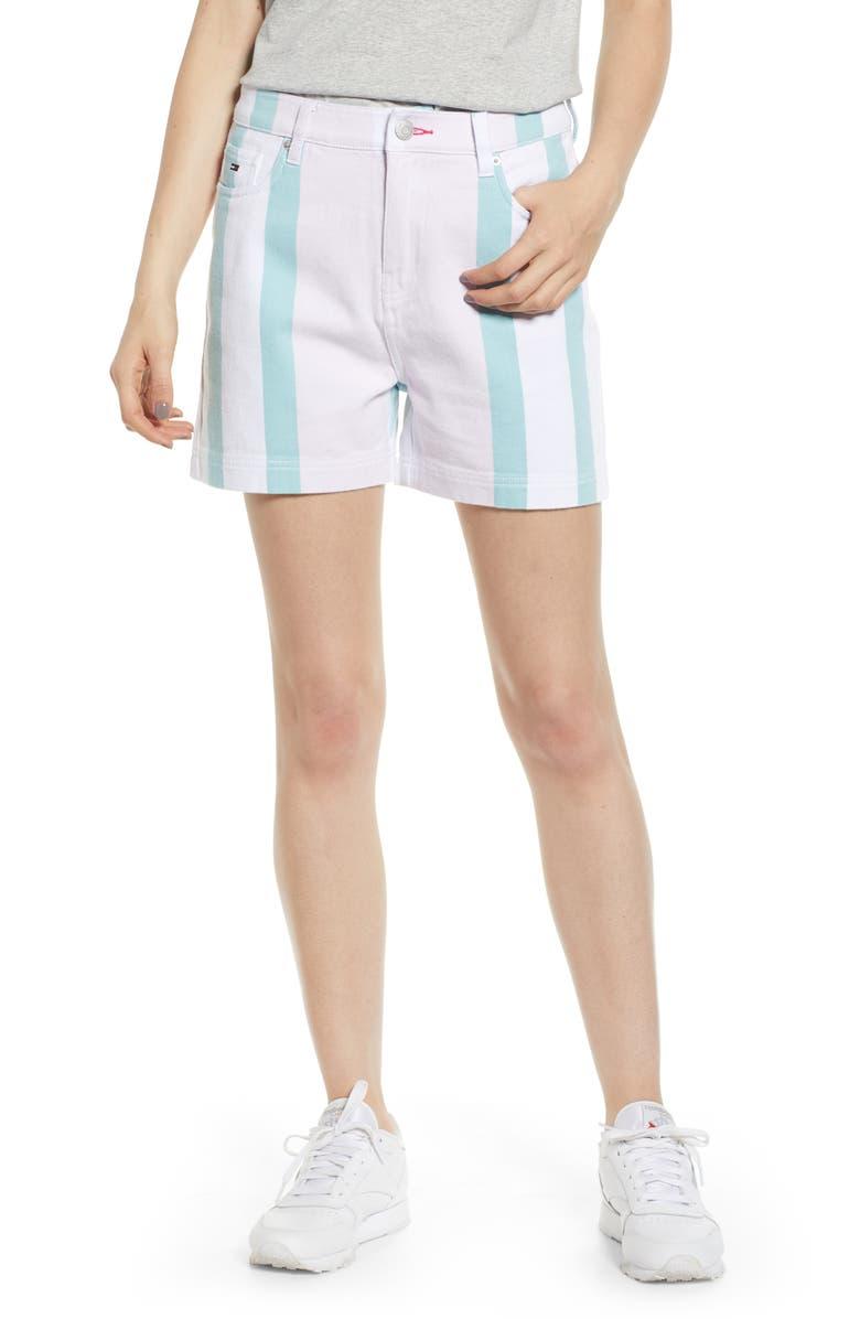 TOMMY JEANS High Waist Stripe Denim Mom Shorts, Main, color, 100
