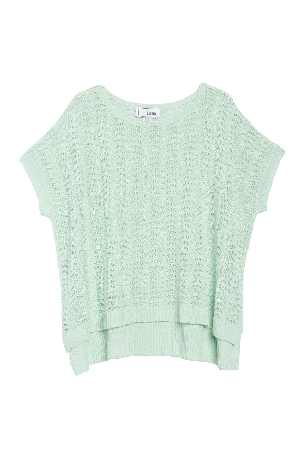 Image of Joan Vass Waffle Knit Boat Neck Top