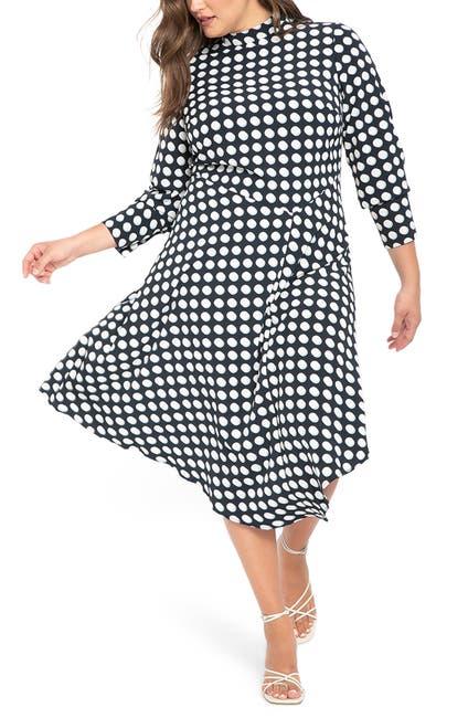 Image of ELOQUII Dot Print Asymmetrical Long Sleeve Dress