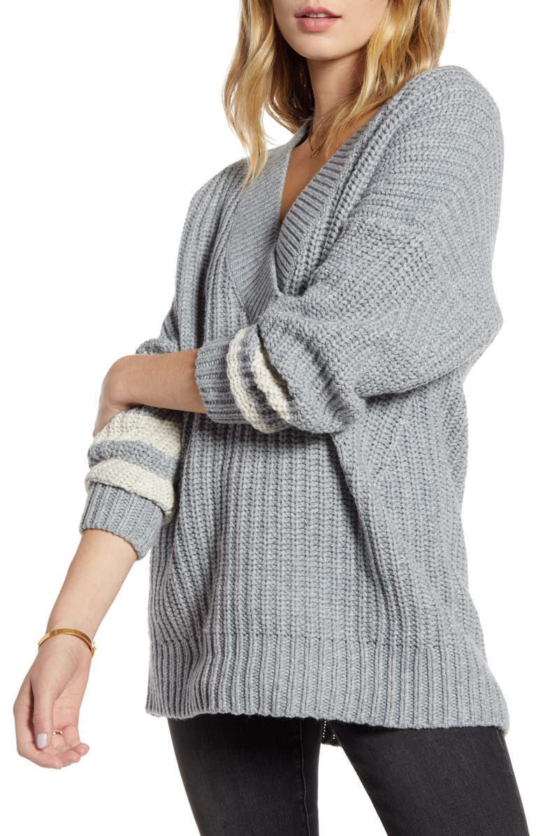 TREASURE & BOND Stripe Sleeve Oversize V-Neck Sweater, Main, color, GREY DARK HEATHER- IVORY COMBO