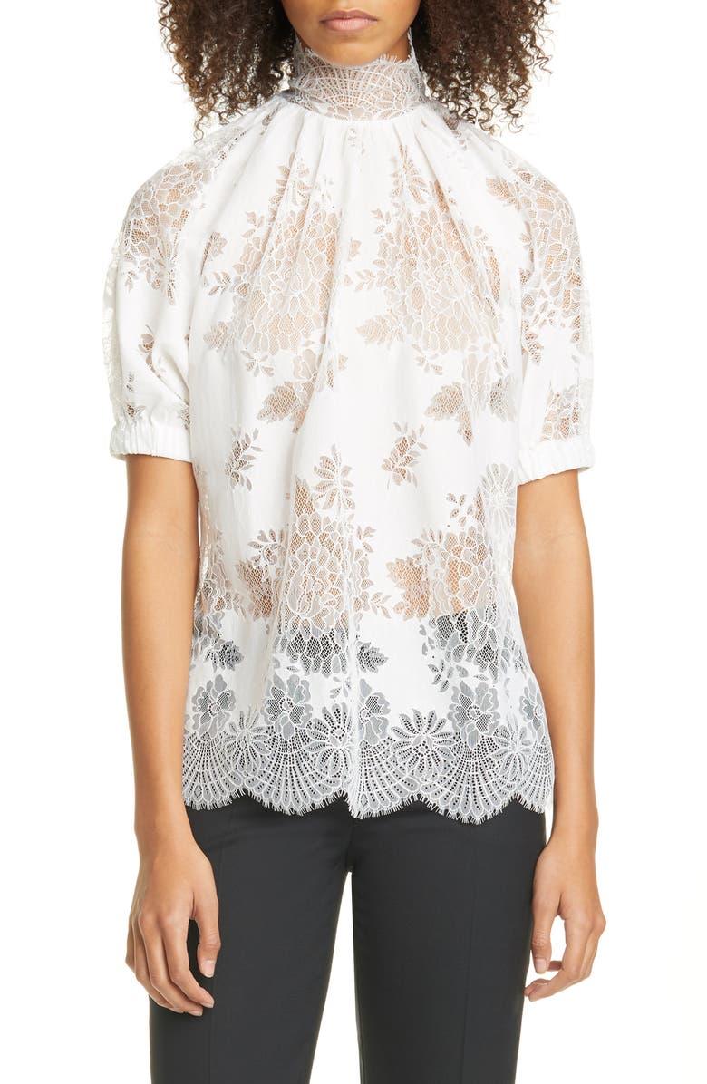 BEAUFILLE Floral Lace Blouse, Main, color, IVORY