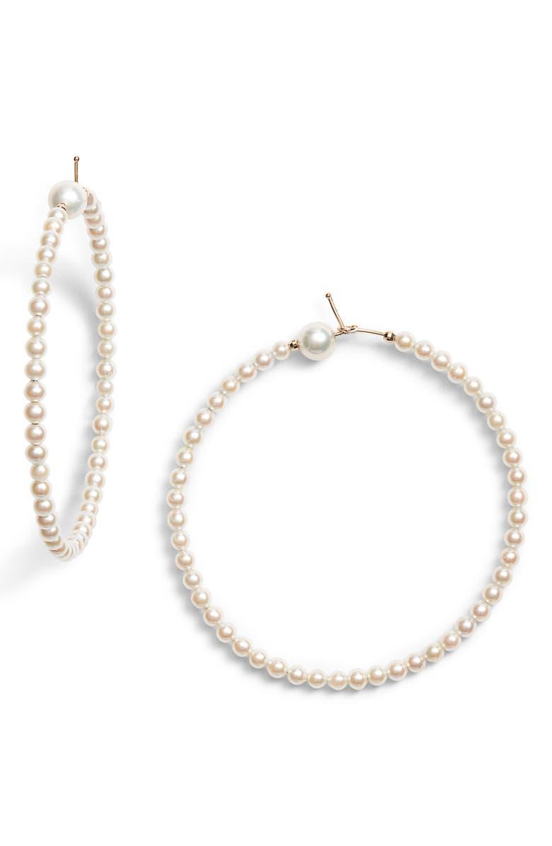 MIZUKI Sea of Beauty Medium Pearl Hoop Earrings, Main, color, 710